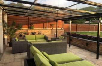 danmark retractable sliding glass roof pergola indoor