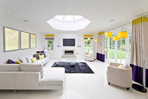 Living room with large skylight